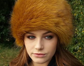 Stunning Golden Faux Fur Hat with Cosy Polar Fleece Lining