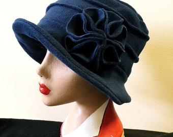 Cosy Navy Blue Fleece Hat-Fully Fleece Lined-Downton Abbey Hat-Womens Fleece Hat-Womens Fleece Winter Hat-Ladies Winter Hat