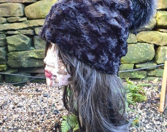Black Faux Fur Pom Pom Hat-Fully Lined with Polar Fleece-Pom Pom-Fake Fur Hat-Black Fur-Ladies Winter Hat-Fleece Hat-Black Pom Pom