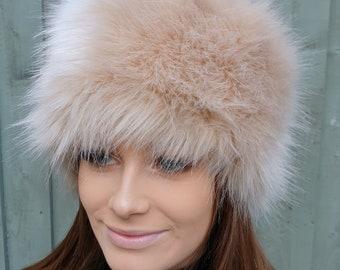 Caramel Faux Fur Hat- Cosy Polar Fleece Lining-Ladies Winter Hat-Fake Fur Hat-Faux Fur Hat-Fur Hat-Fleece Hat-Winter Hat-Fur Hat-Beige Fur
