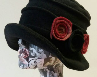 Handmade Black Fleece Hat With Cosy Fleece Lining Red and Black Flowers