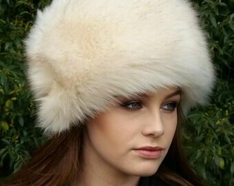 Beautiful Cream Faux Fur Hat with Cosy Polar Fleece Lining