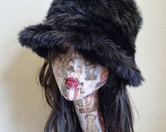 Short Black Faux Fur Bucket Hat-Festival Hat-Floppy Hat-Fur Hat-Fake Fur Hat-Rave Hat-Black Fur Hat- Black Fur Hat- Furry Bucket Hat
