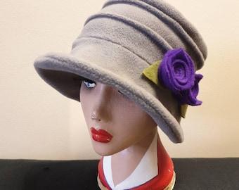 Light Grey Fleece Hat with Purple Flower-Polar Fleece Lining-Downton Abbey Hat-Cloche Hat-Womens Fleece Winter Hat-1930's-Ladies Winter Hat-