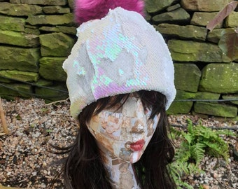 Flip Sequin PomPom Hat in White/Pink-Polar Fleece Lining-Reversible Sequins-Mermaid Fabric-Fake Fur-Pom Pom-Sequins-Faux Fur