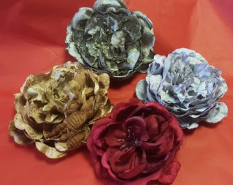 Retro Peony Hair Clip/ Fascinator in 4 Colours