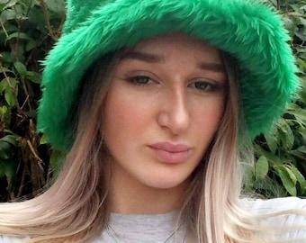 Green Fun Fur Faux Fur Bucket Hat-Festival Hat-Floppy Hat-Fur Hat-Fake Fur Hat-Rave Hat-Fur Hat- Fur Hat- Furry Bucket Hat-Green Bucket Hat