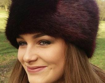 Posh Wine Faux Fur Hat with Polar Fleece Lining.