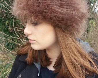 Camel Coloured Long Faux Fur Headband-Neckwarmer-Earwarmer-Head Wrap-Fur Head Wrap- Handmade in Lancashire England