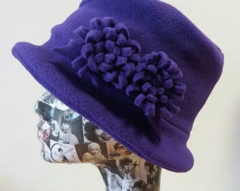 Handmade Purple Fleece Hat With Cosy Fleece Lining and Purple Fleece Flowers