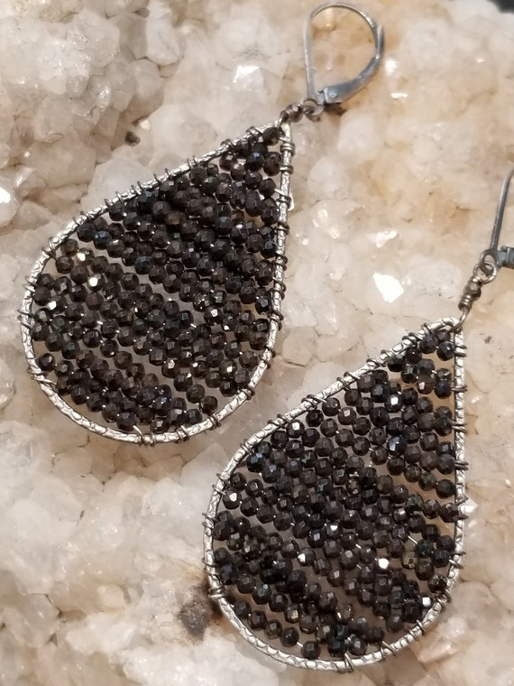 Large Bronze and Pyrite Teardrop Earrings