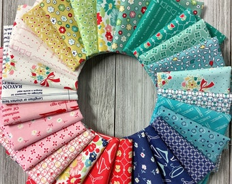 Vintage Happy 2 Fat Eighth (1/8th) Bundle 26 Piece Lori Holt Riley Blake Red Blue Green Yellow White Pink Teal