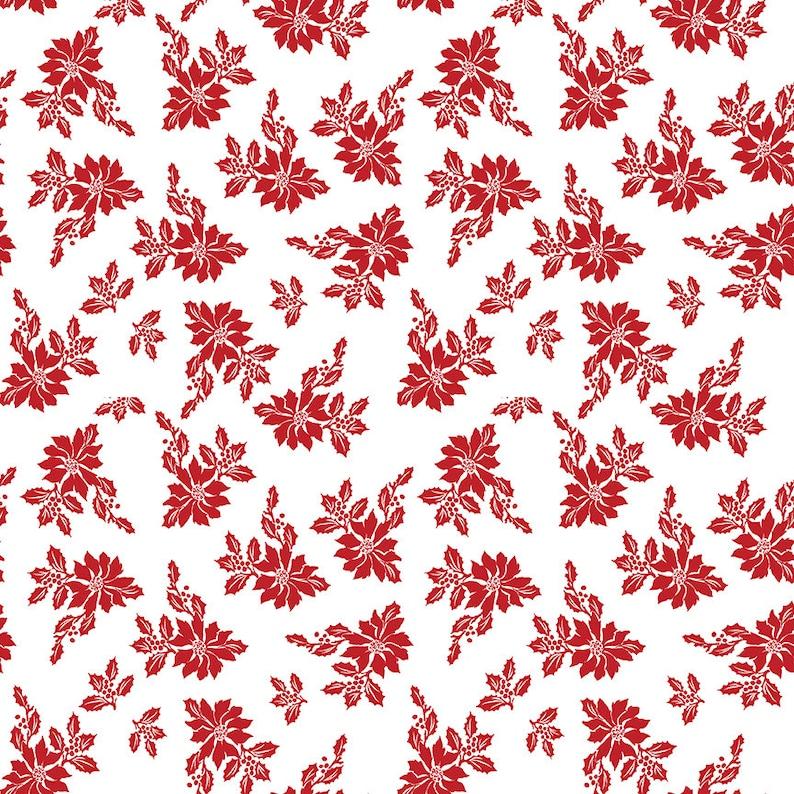 Santa Claus Lane Red White Poinsettias Floral Print Fabric Melissa Mortenson Riley Blake Vintage Retro