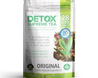 Detox Supreme Weight Loss Probiotic Tea: Helps Cleanse Body, Reduce Bloating, & Suppressing Appetite, 28 Day Detox Tea Supply with Probiotic