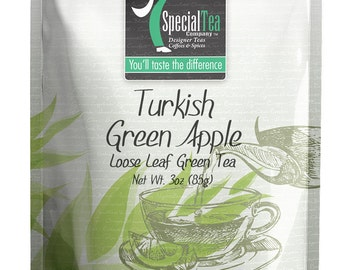 3 oz. Turkish Green Apple Organic Loose Green Tea with Free Tea Infuser