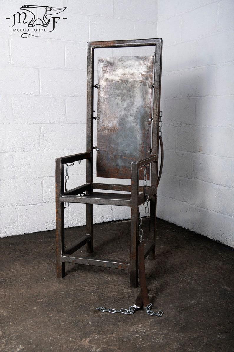 Bdsm Dungeon steel throne, dungeon restraint chair, bondage, bdsm, fetish, metal, dungeon furniture, chain, (mature content)