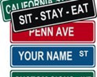 """Custom Personalized Street / Road Name Sign.  Choice of Colors. 6"""" x 24"""" Aluminum"""