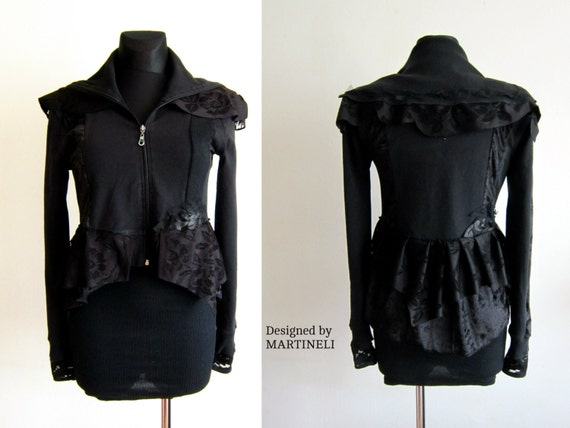 Appliqued Top M Bohemian Recycled Clothing Upcycled Goth Boho Top Top Black Clothing Clothing Sweatshirt Lace Sweater L Recycled Recycled CYwCX