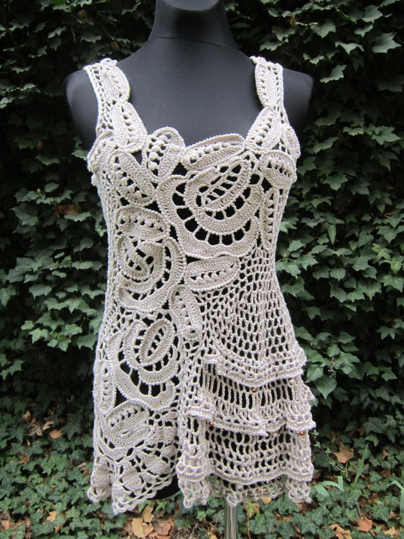 S/M Ivory Crochet Lace Dress, Irish Crochet, Tunic Dress, Bohemian Clothing, Freeform Crochet Roses Dress Gypsy Dress Bohemian Crochet