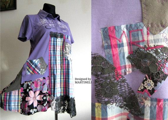 L/XL Plaid Shirt Dress,Boho Plus Size Dress,Upcycled Clothing,Plaid tshirt  Dress,Street Wear,Patchwork Dress,Plus Size Shirt Dress