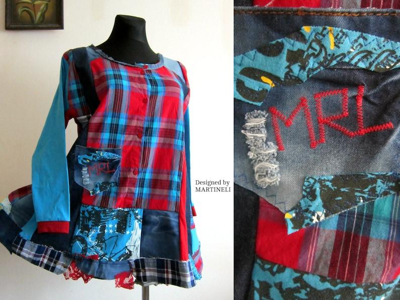 XL/XXL Plus Size Denim Shirt Dress, Upcycled Clothing, Boho Tunic Dress,  Trendy Plus Size