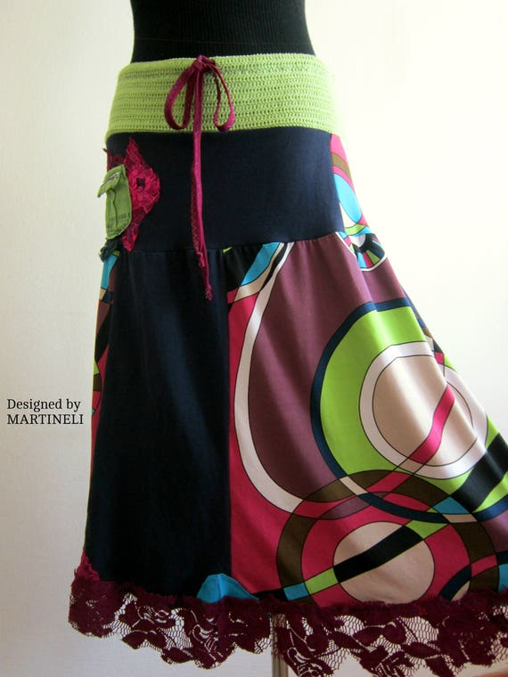 Clothing Free Chic Hippie Chic L Skirt Skirt Shabby Boho Skirt Long Skirt Skirt Boho M People Upcycled Skirt Lace Colorful Gypsy Lagenlook 8qwRpAp