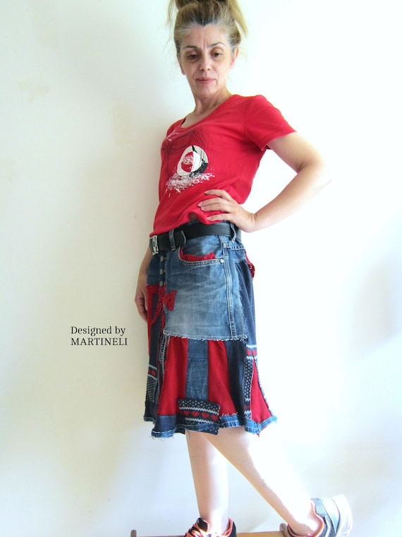 L Clothing Hippie Skirt Recycled Skirt Skirt Appliqued Recycled Folk Patchwork Skirt Boho XL Denim Skirt Gypsy Denim Skirt rvwqBOrxT
