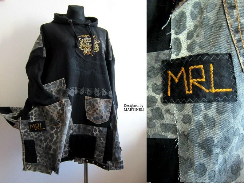 583e7c98db4 M 3XL Ed Hardy Denim Poncho Sweater Poncho Upcycled Clothing