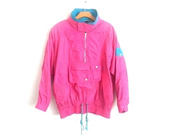 Vintage 80s Color Block Jacket Hooded Pink Windbreaker Women s Medium 795144e1b