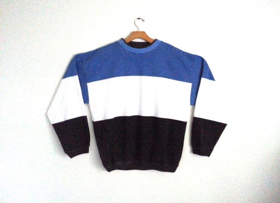 Vintage 80s 90s Sweatshirt Wide Stripe Color Block Pull-over  bb9f19ea2