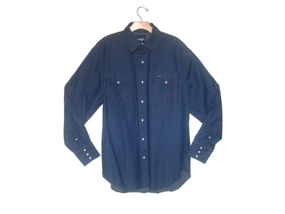 Men's Vintage Denim Western Shirt Wrangler Large