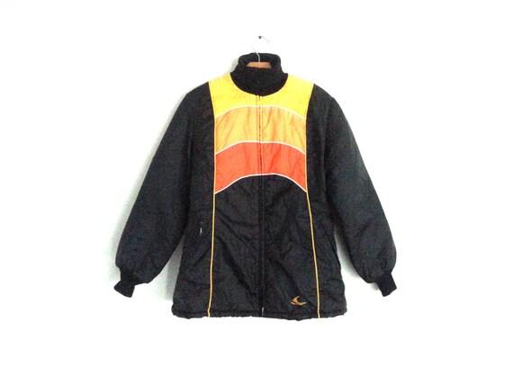 Medium Vintage anni 80 Ski Jacket Colorblock giallo arancione  b1cd542c169