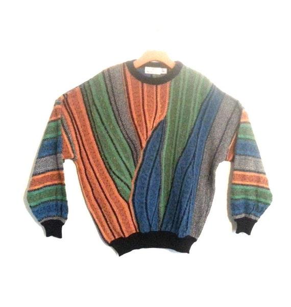 Vintage 90s Sweater Multicolor Textured Knit Patte