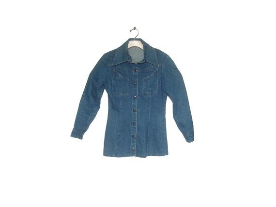 Women's Vintage 70s Denim Landlubber Shirt Jacket