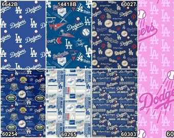 MLB Logo Los Angeles Dodgers Blue & White 100% Cotton Fabric by Fabric Traditions! [Choose Your Cut]