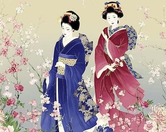hot sale online 71783 075c8 Sakura Cherry Blossom, Butterfly, Chrysanthemums, Peonies,   Oriental  Cotton Metallic Fabric Panel CM6156!