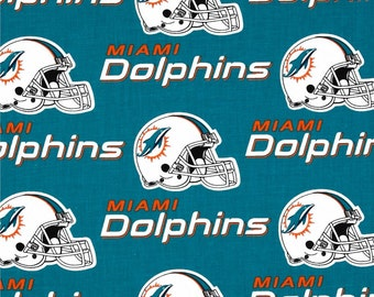 NFL Logo Miami Dolphins 6459D Aqua Cotton Fabric by Fabric Traditions!   Choose Your Cut Size  ee4104f1a