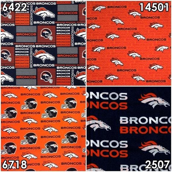 NFL Logo Denver Broncos Navy & Orange Cotton Fabric By