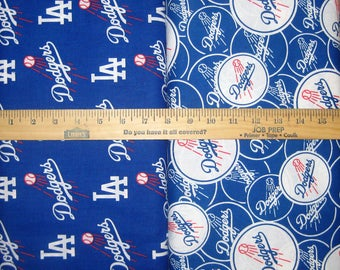 MLB Logo Los Angeles Dodgers Blue & White Cotton Fabric by Fabric Traditions! [Choose Your Cut Size]