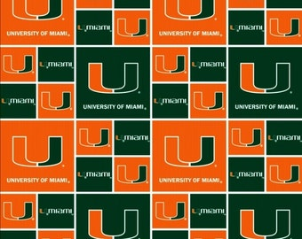 NCAA University of Miami Hurricanes 020 Green & Orange Blocked College Logo Cotton Fabric! [Choose Your Cut Size]