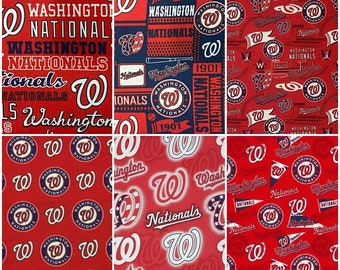 MLB Logo Washington Nationals Red  & Navy 100% Cotton Fabric by Fabric Traditions! 4 Styles [Choose Your Cut Size]
