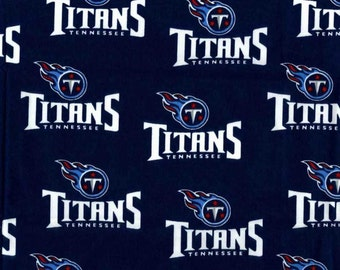 NFL Logo Tennessee Titans 6037D Navy Cotton Fabric by Fabric Traditions! [Choose Your Cut Size]