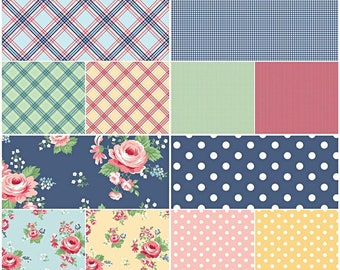 Notting Hill British Inspired 100% Cotton Fabrics by Riley Blake! Part 1 Large Roses, Polka Dots, Gingham, Plaids [Choose Your Cut Size]