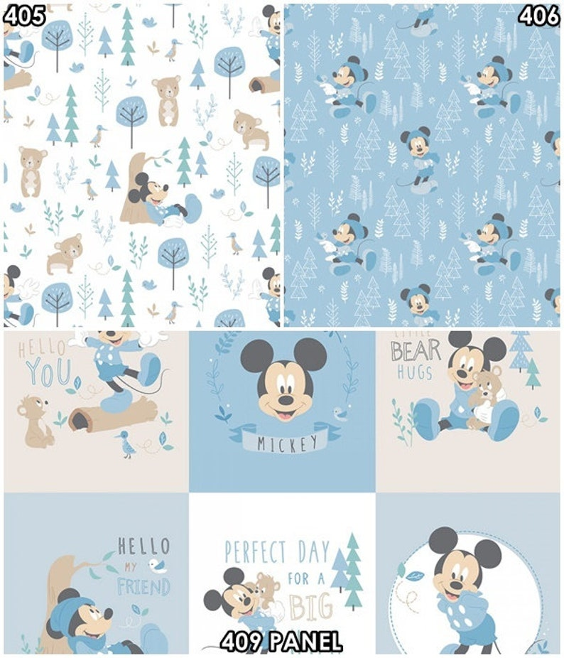 445dbecca10 Disney Mickey & Minnie Mouse Baby Pink and Blue Nursery Cotton | Etsy