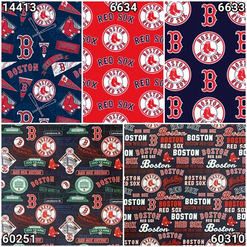 MLB Logo Boston Red Sox Red & Navy 100% Cotton Fabric by image 0