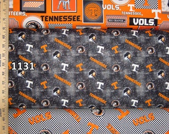 NCAA University of Tennessee Vols Orange & White College Logo Cotton Fabric by Sykel! 15 Options [Choose Your Cut Size]