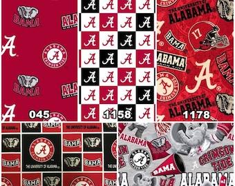 NCAA Alabama Crimson Tide Crimson & Black College 100% Cotton Fabric! Roll Tide! 13 Styles [Choose Your Cut Size]