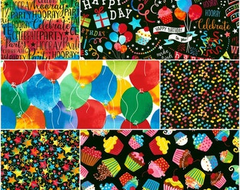 Celebrate, It's a Birthday Party Cotton Fabric by Timeless Treasures! 7 Options [Choose Your Cut Size]