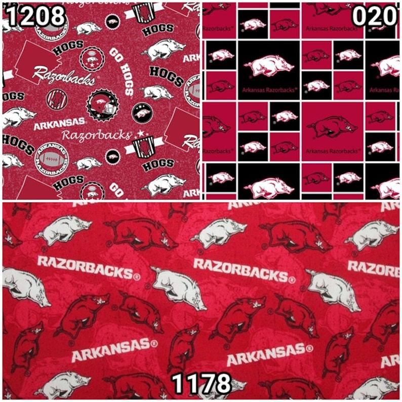 NCAA Arkansas Razorbacks Red & Black College Logo 100% Cotton image 0