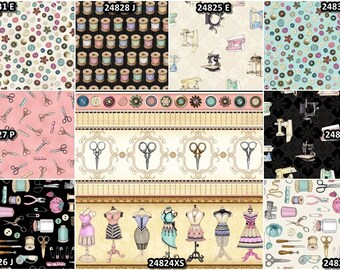 Cute As A Button Sewing Notions, Thread, Scissors, Spools, Machines Cotton Fabrics by Quilting Treasures! [Choose Your Cut Size]
